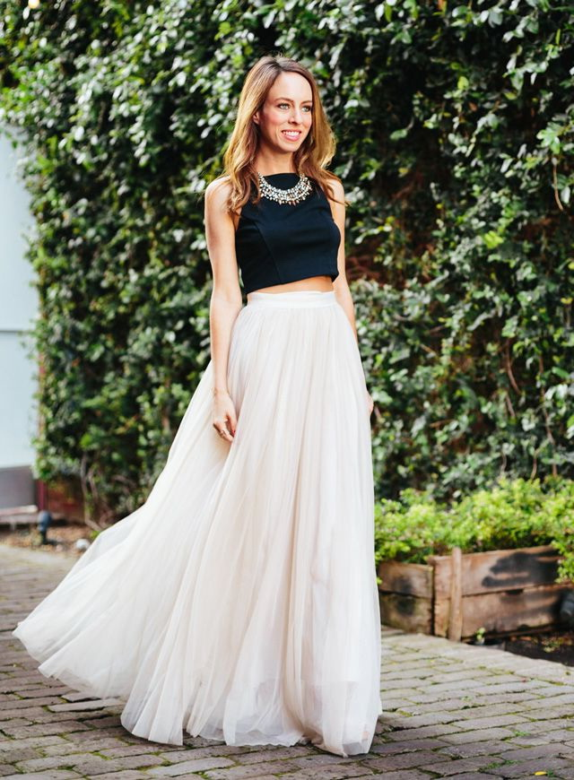 Buy White long skirt with black crop top at 27% off Online India ...