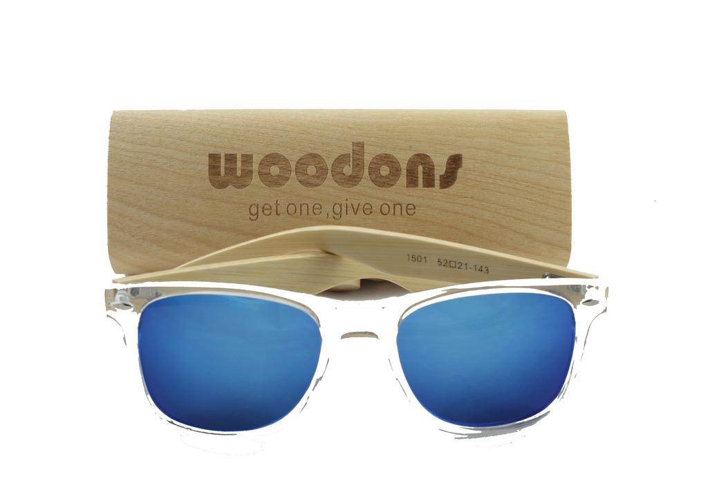 Woodons Shaderz Wayfarer Clear Frame / Blue Lens Sunglasses Zl166-9