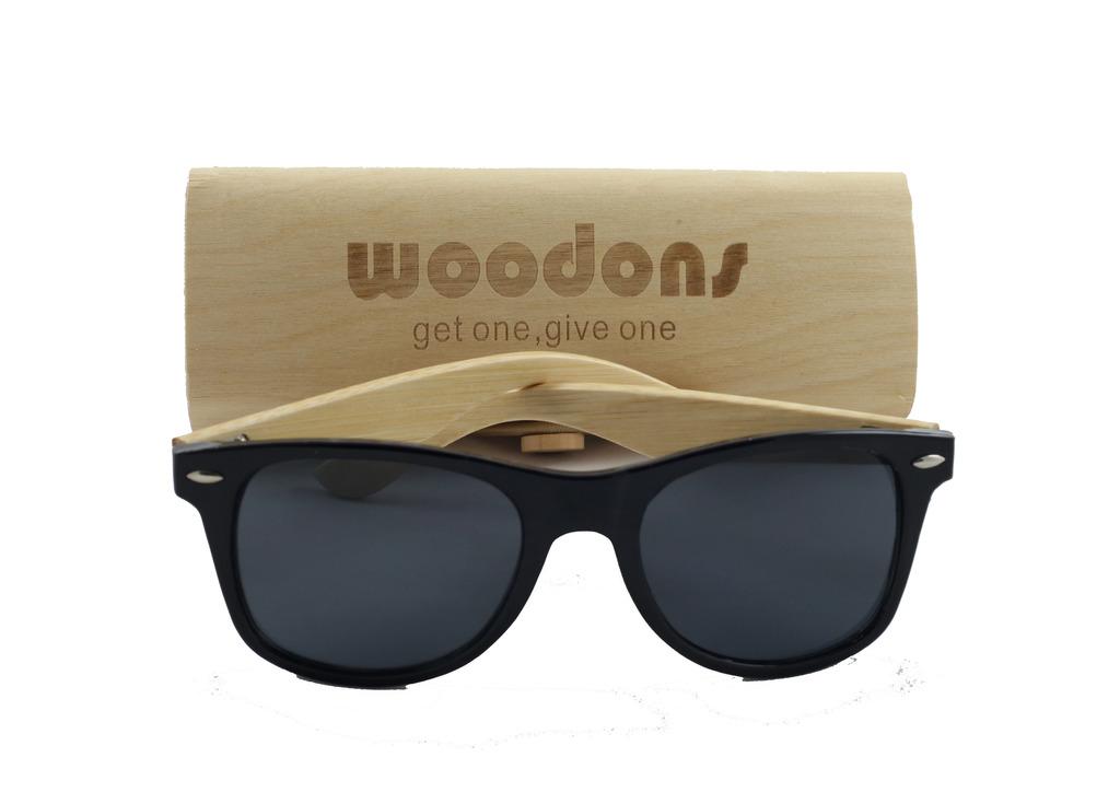 Woodons Shaderz Wayfarer Matte Black Sunglasses Zl166-5