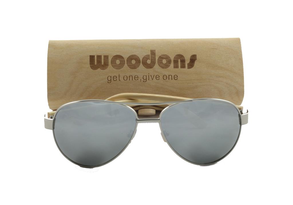 Woodons Aviator Silver Mirror Sunglasses Zl138-8