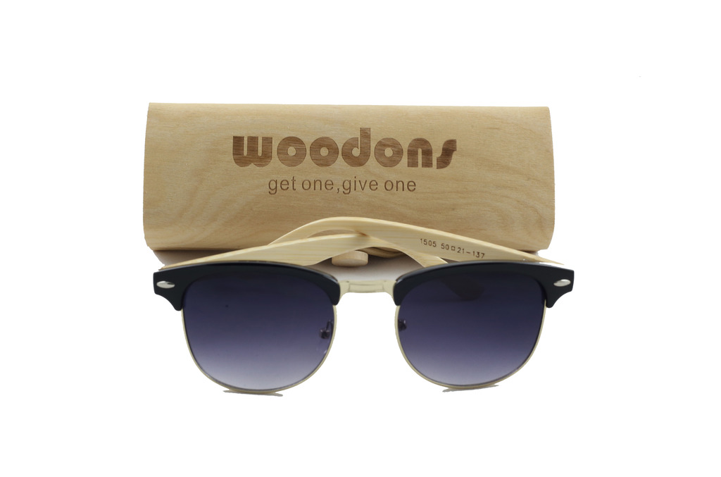 Woodons Vintage Clubmaster Black Sunglasses Zl170-1