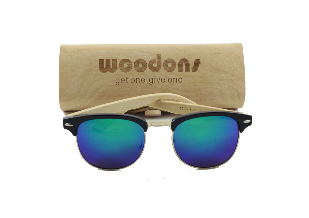 Woodons Vintage Clubmaster Blue Sunglasses Zl170-3