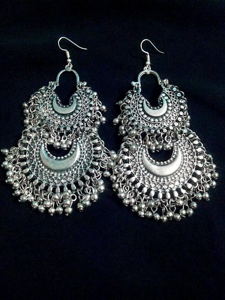 buy silver double chandbali divamm fashion oxidized silver