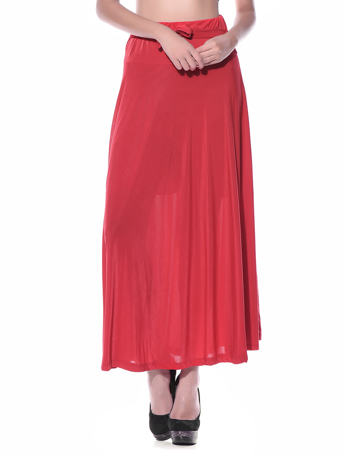 Carnival Red Color Silk Skirt