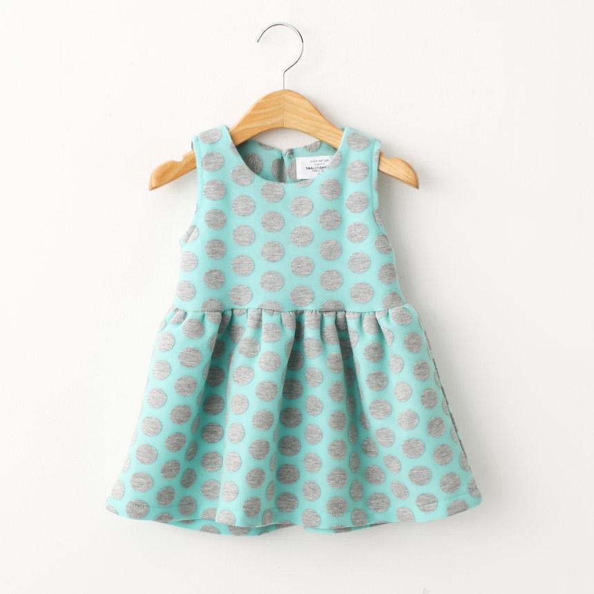 Buy Winter Wear Polka Print Pretty Cyan Sleevless Dress At