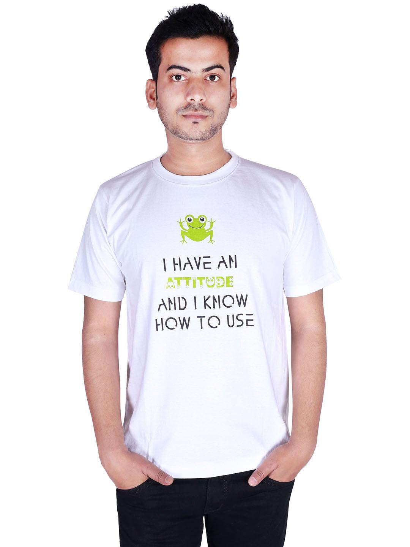 triplemart Printed White Round Neck Mens T-shirt