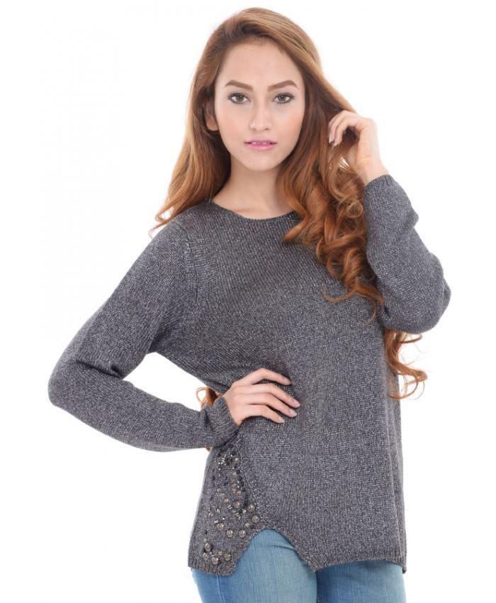 yashshopee Estance Acrylic Side Slit Embroidered Grey Sweater