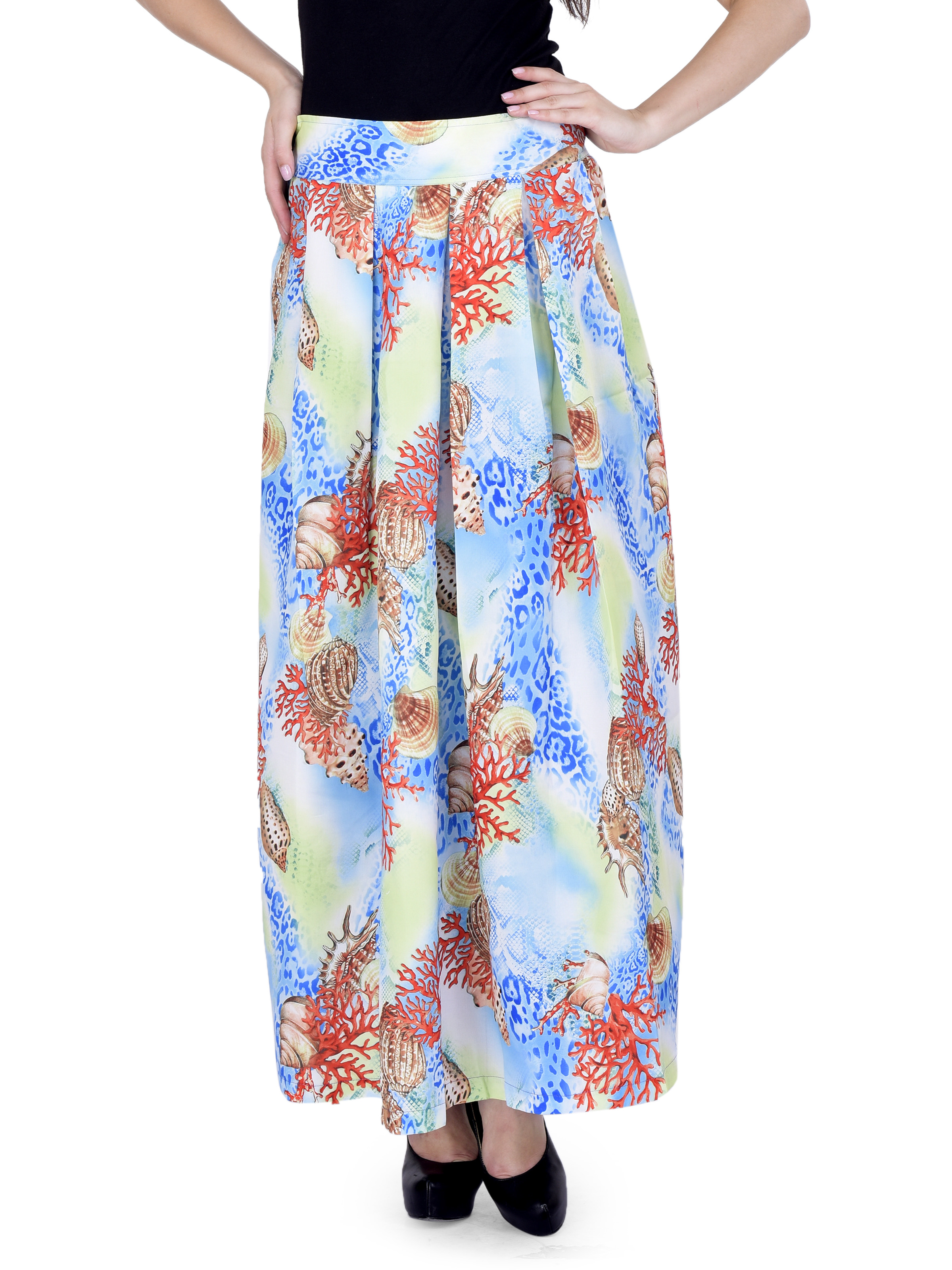 chicflic2 Women Floral Maxi Pleated Skirt Sk164i