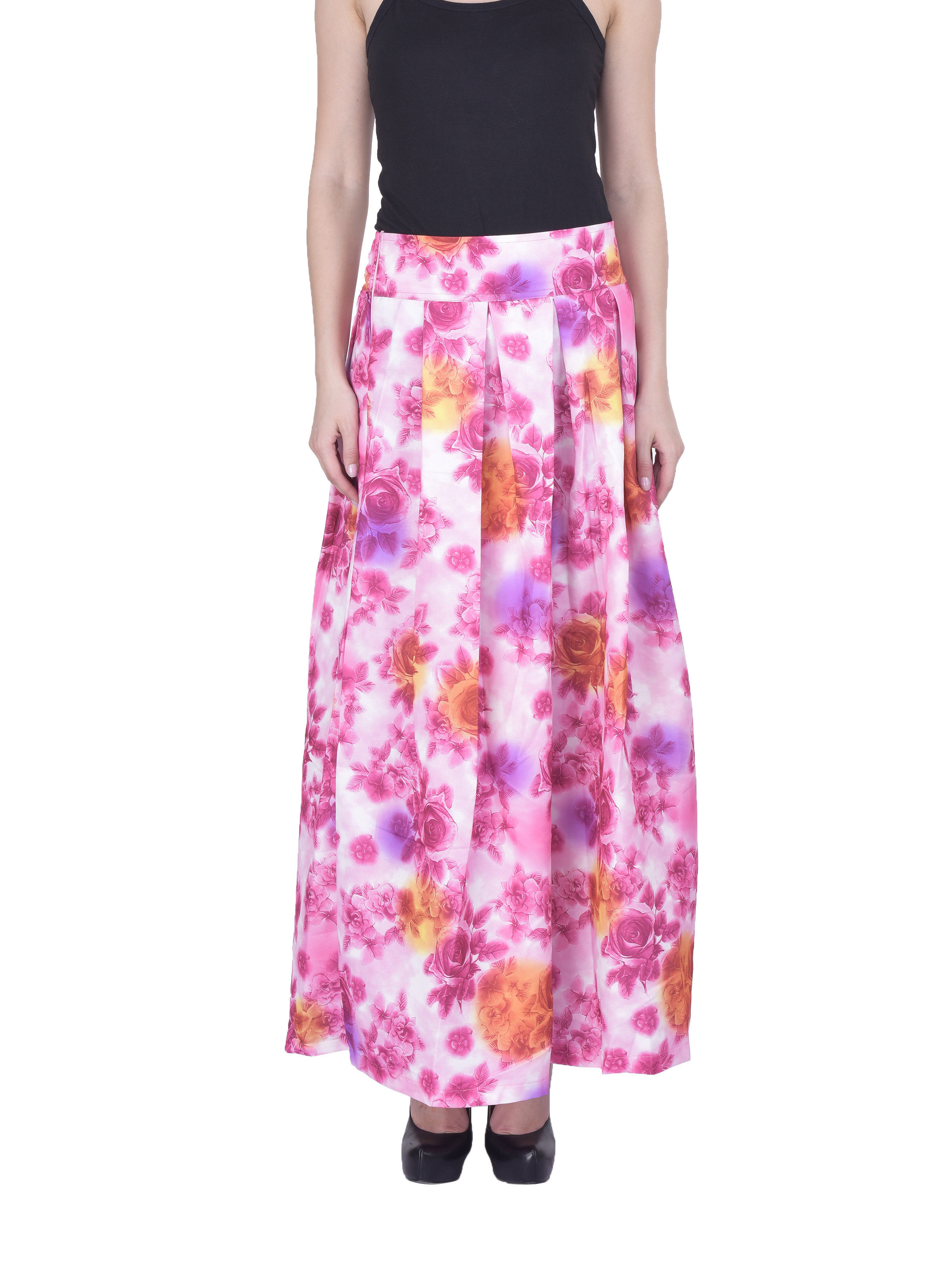 chicflic2 Women Floral Maxi Pleated Skirt Sk164f