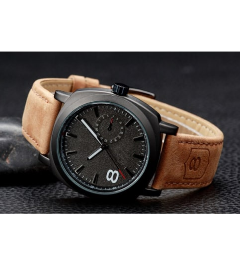 parienterprise Leather Belt Men White Diler Watch