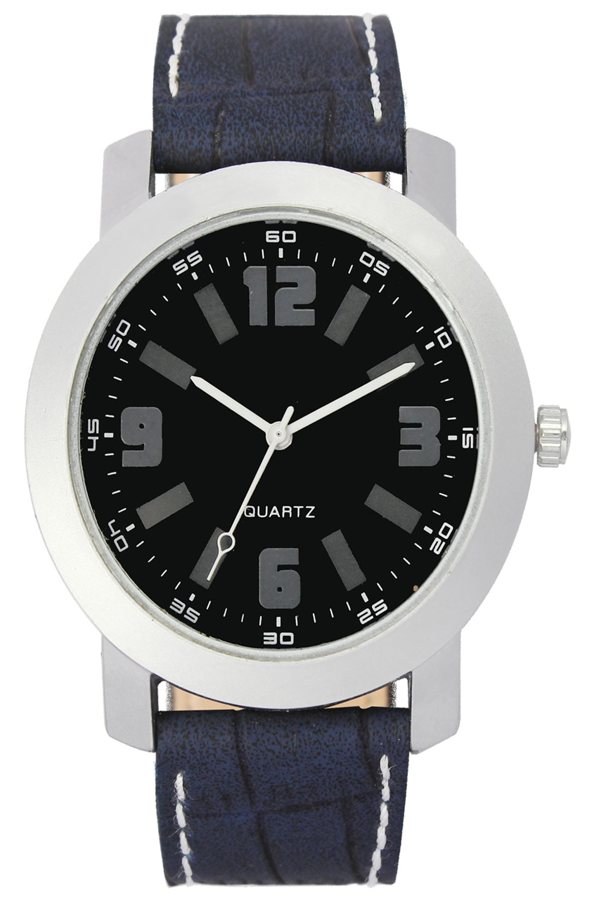 parienterprise Mens Watch Premium 40mm Black Round Dial Black Leather Strap And White Storm Mens Analog Watch 126