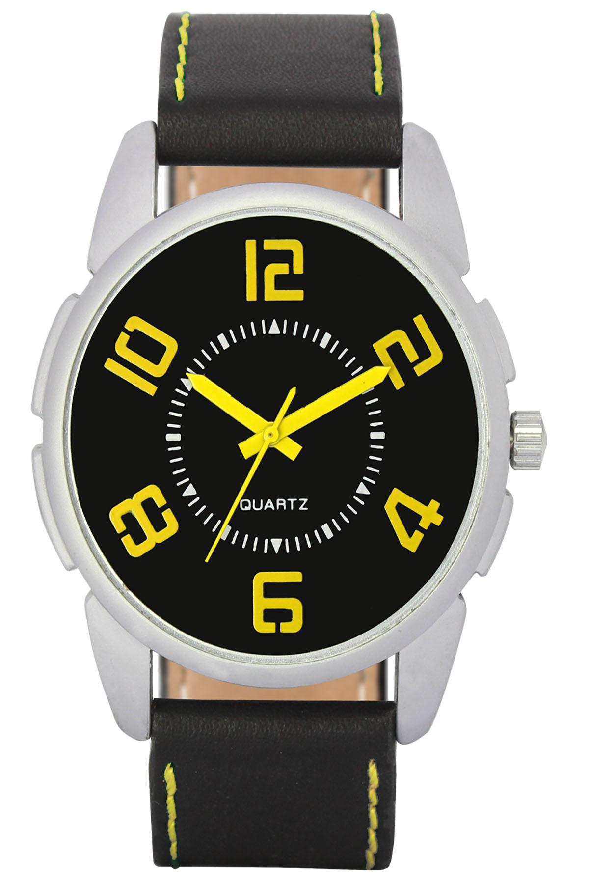 parienterprise Mens Watch Premium 40mm Black Round Dial Black Leather Strap And Yellow Storm Mens Analog Watch 121