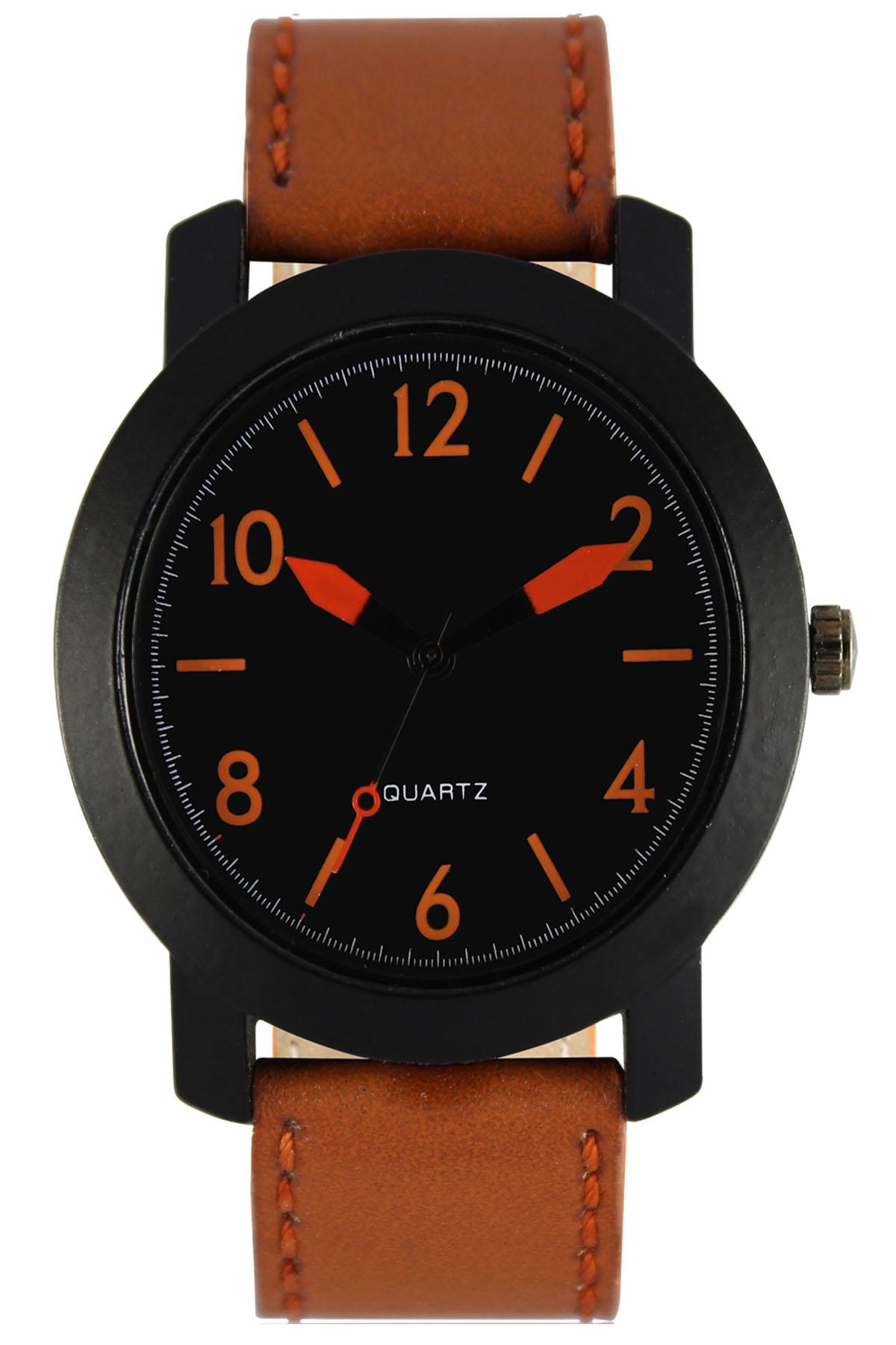 parienterprise Mens Watch Premium 40mm Black Round Dial Brown Leather Strap And Orange Storm Mens Analog Watch 116