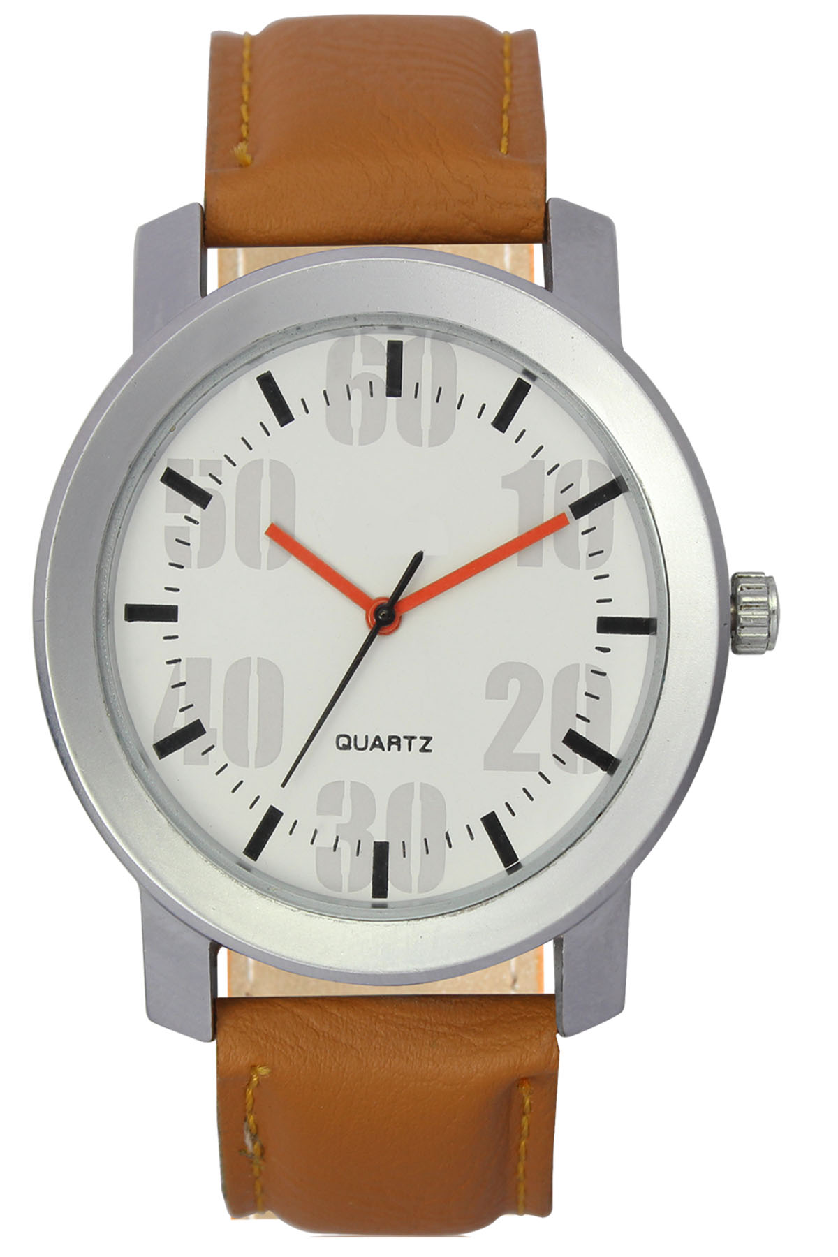parienterprise Mens Watch Premium 40mm White Round Dial Brown Leather Strap And Brown Storm Mens Analog Watch