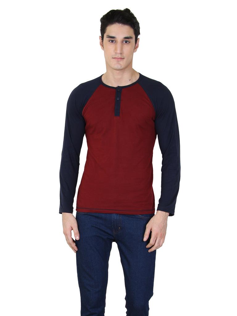 rkenterprises3 Rk Henley Full Sleeve Maroon T Shirt