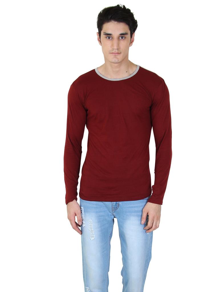 rkenterprises3 Rk Round Neck Full Sleeve 1091 Maroon T Shirt