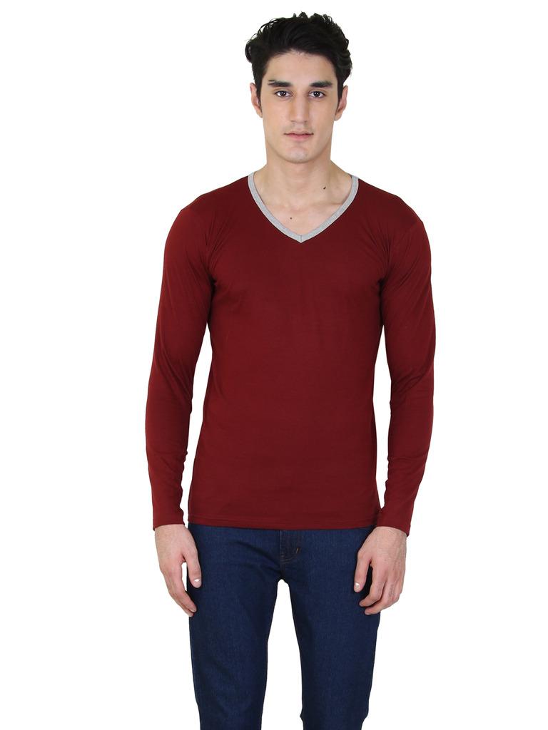 rkenterprises3 Rk V Neck Full Sleeve Maroon T Shirt