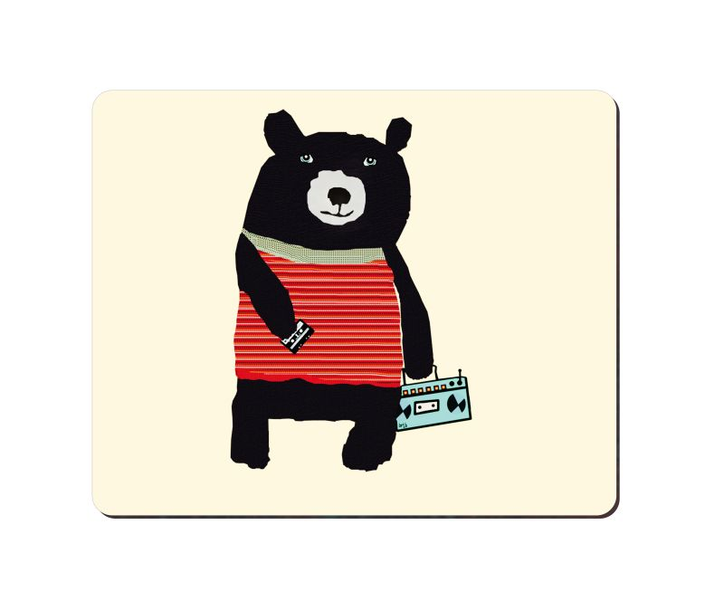 arbonmonk Design Lab Record Playing Bear Mouse Pad, Speed-type Precision Gaming Mouse Pad, Non Slip Base