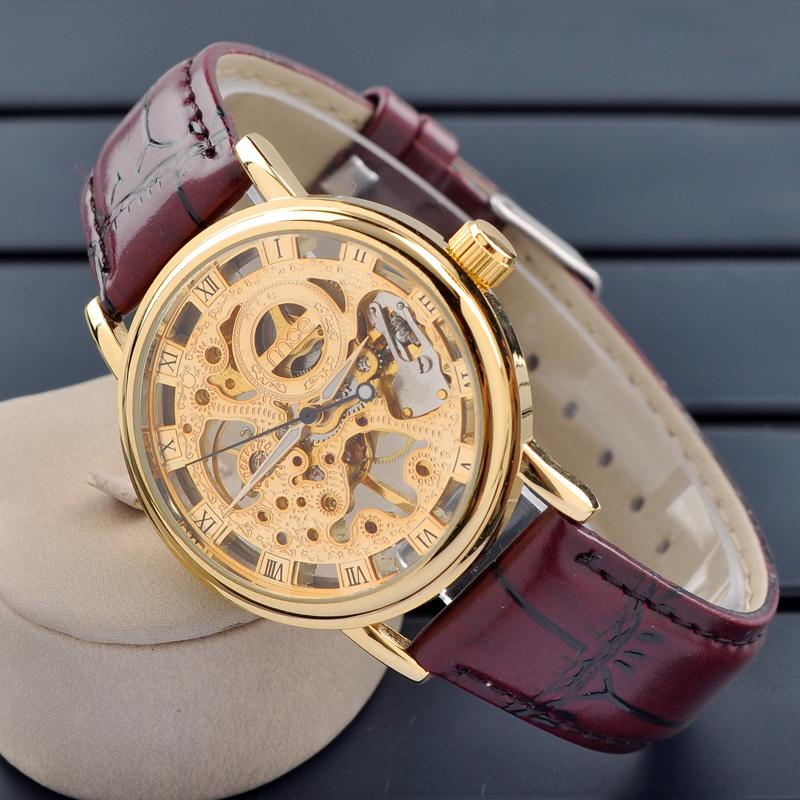 skeleton wind leather us wristwatches women hand men dress pin mechanical watch mens watches transparent new