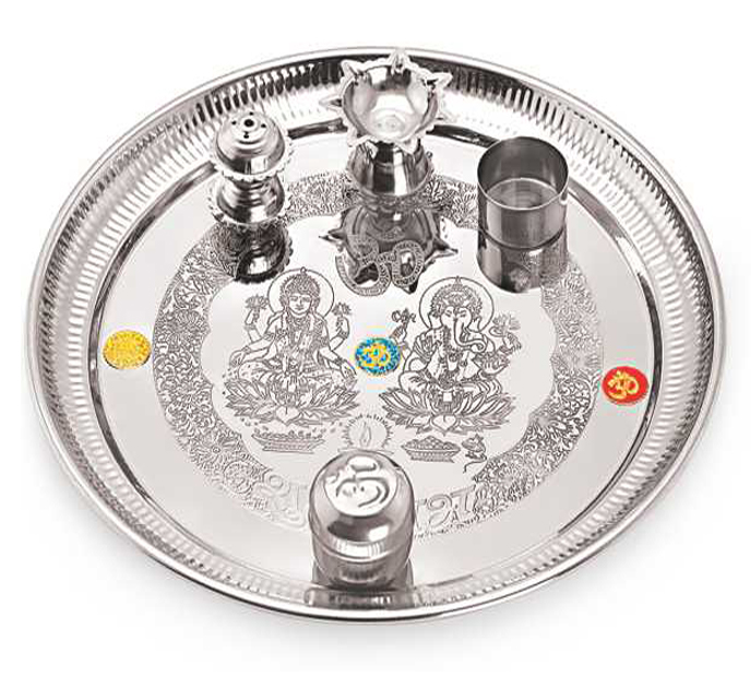 Buy jubilant lifestyle stainless steel pooja aarti thali for Aarti dish decoration