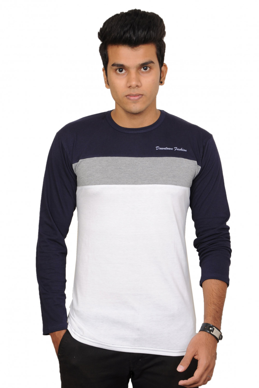 Buy downtown fashion mens full sleeve tshirt blue grey for Jockey full sleeve t shirts india