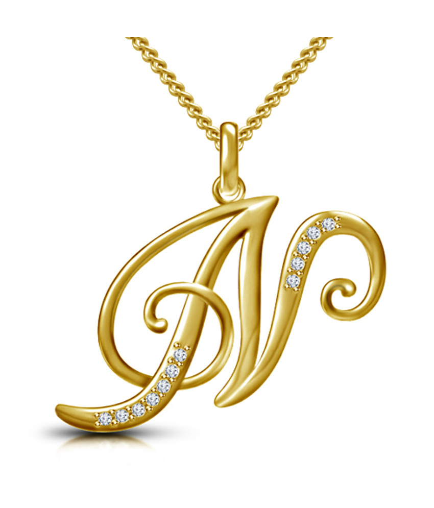 buy webblekart letter n gold plated 925 sterling silver With gold letter n pendant