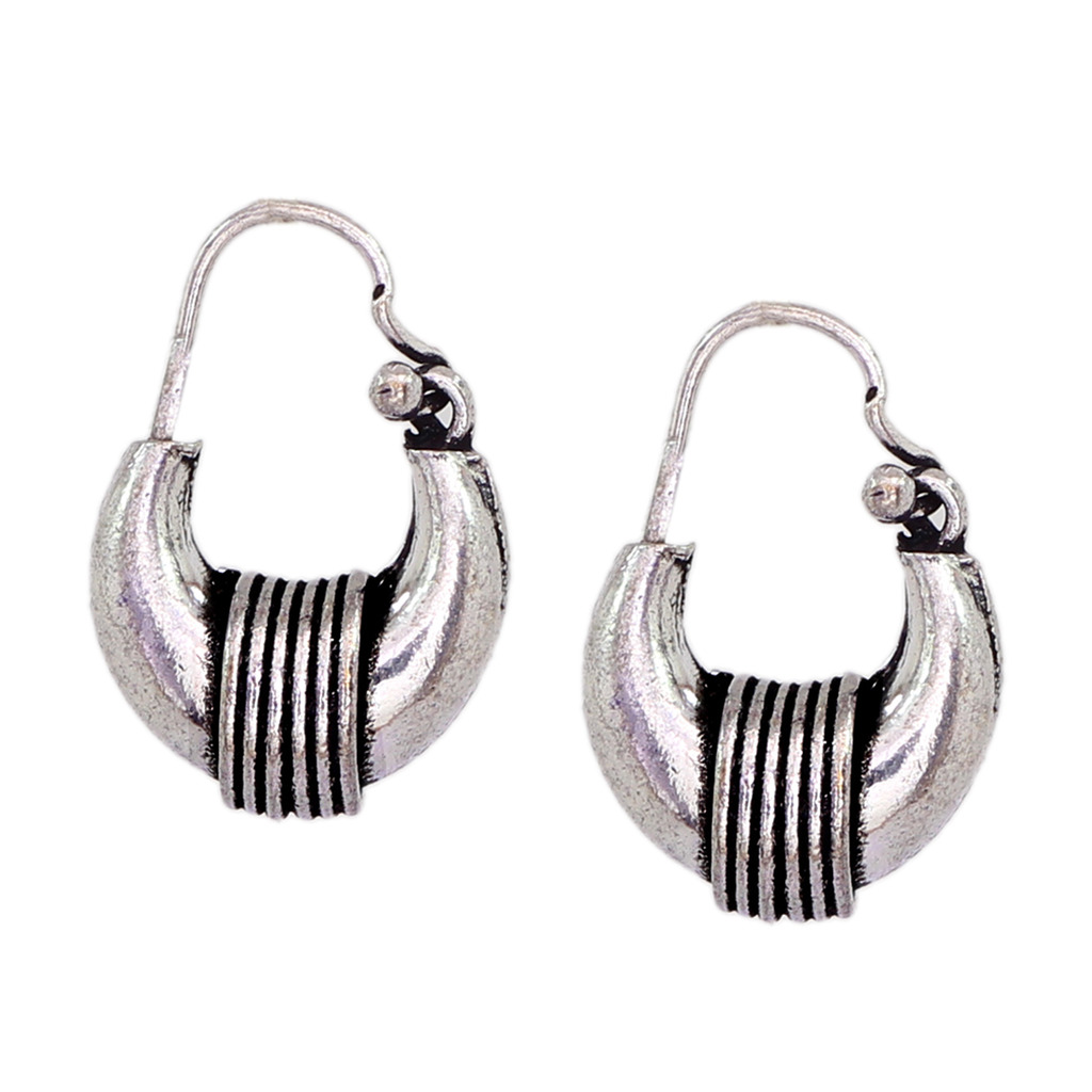 Buy Vintage Style Oxidized Silver Women Fashion Kundal Earrings At 50 Off Online India At