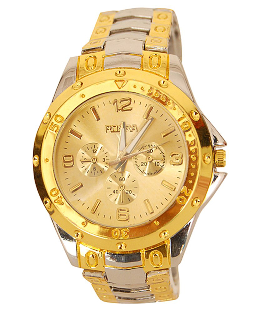 Buy rosra golden dial mens analog with gold at lowest price rogodi31532rqc141719 kraftly for Rosra watches
