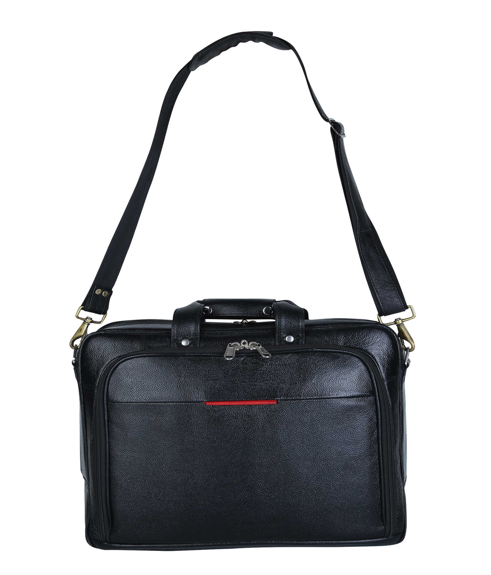 clithscom1 American-elm Black Leather 3 Compartments Laptop Bag (13.5x3.5x15.5) Inches