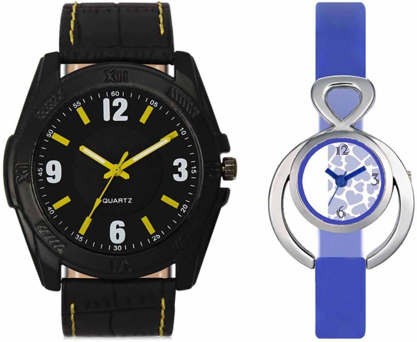 pgassociate Valentine Day Special Mens Black Round Dial Yellow Throns Black Leather Strap Belt And Womens Designed Round Dial Blue Pu Strap Belt Couple Analog Wa