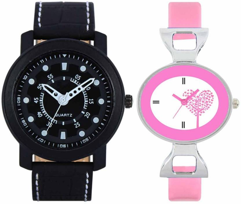 pgassociate Valentine Day Special Mens Black Round Dial White Throns Black Leather Strap Belt And Womens Designed Round Dial Pink Pu Strap Belt Couple Analog Wat