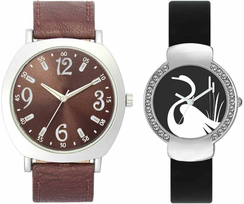 pgassociate Valentine Day Special Mens Chocolate Brown Round Dial Silver Throns Chocolate Brown Leather Strap Belt And Womens Designed Round Dial Black Pu Strap