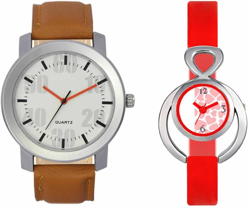 pgassociate Valentine Day Special Mens Silver White Round Dial Orange Throns Brown Leather Strap Belt And Womens Designed Round Dial Red Pu Strap Belt Couple Ana
