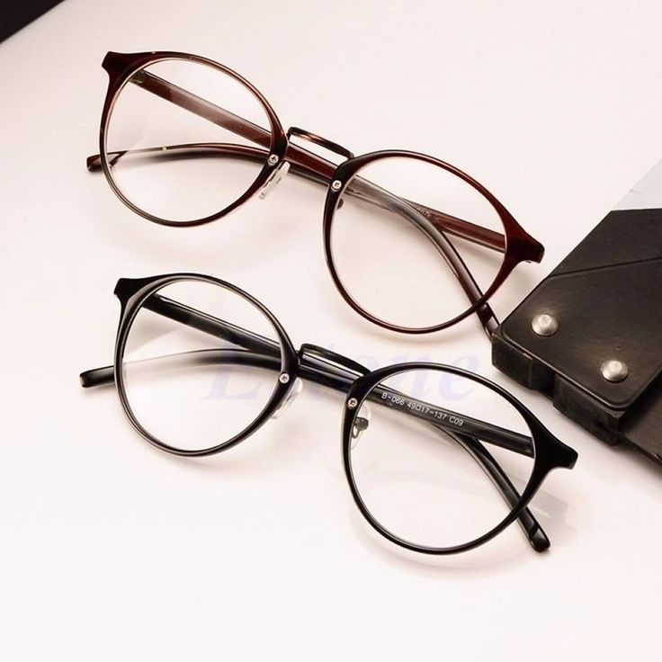 Buy Sunglasses Round Black and brown Frame Transparent WHite Glass ...