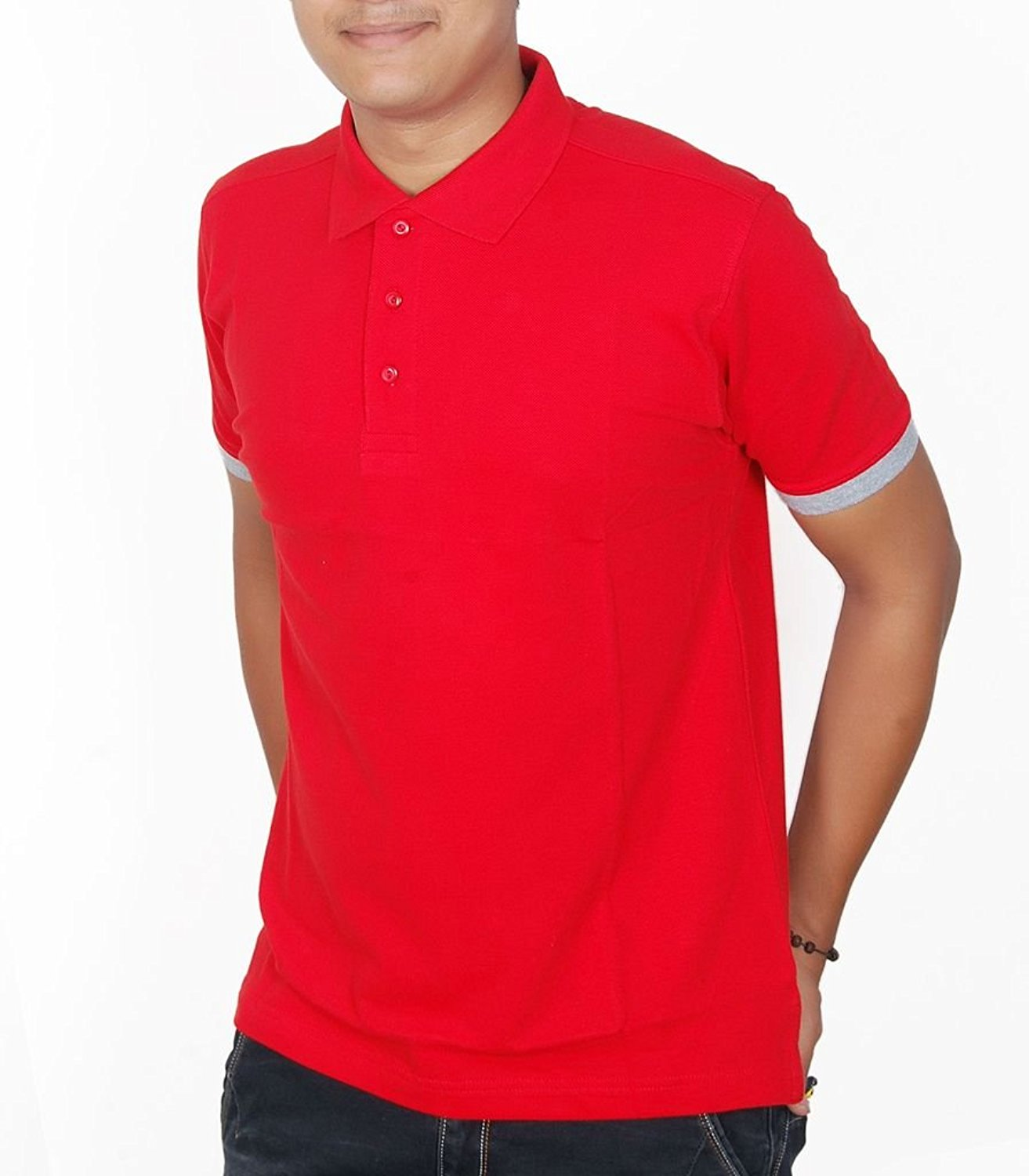 inukshukindia Inukshuk Men's Cotton Red Polo T-shirt