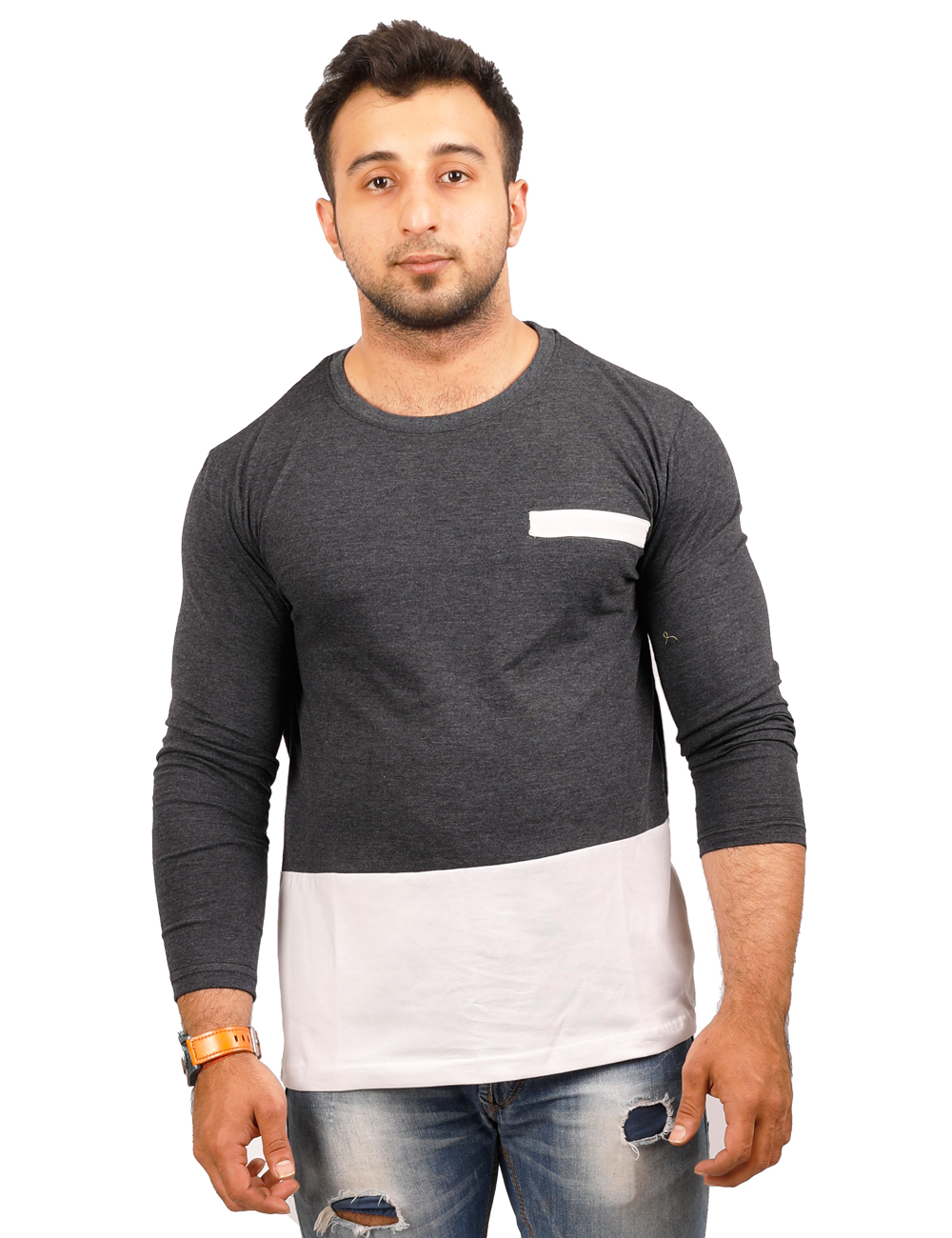 buy high five clothing charcolwhite round neck full