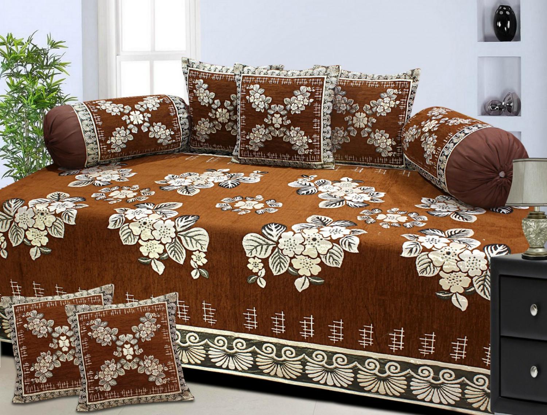 Buy chenille velvet floral designs diwan set pack of 8 for Diwan design 2018