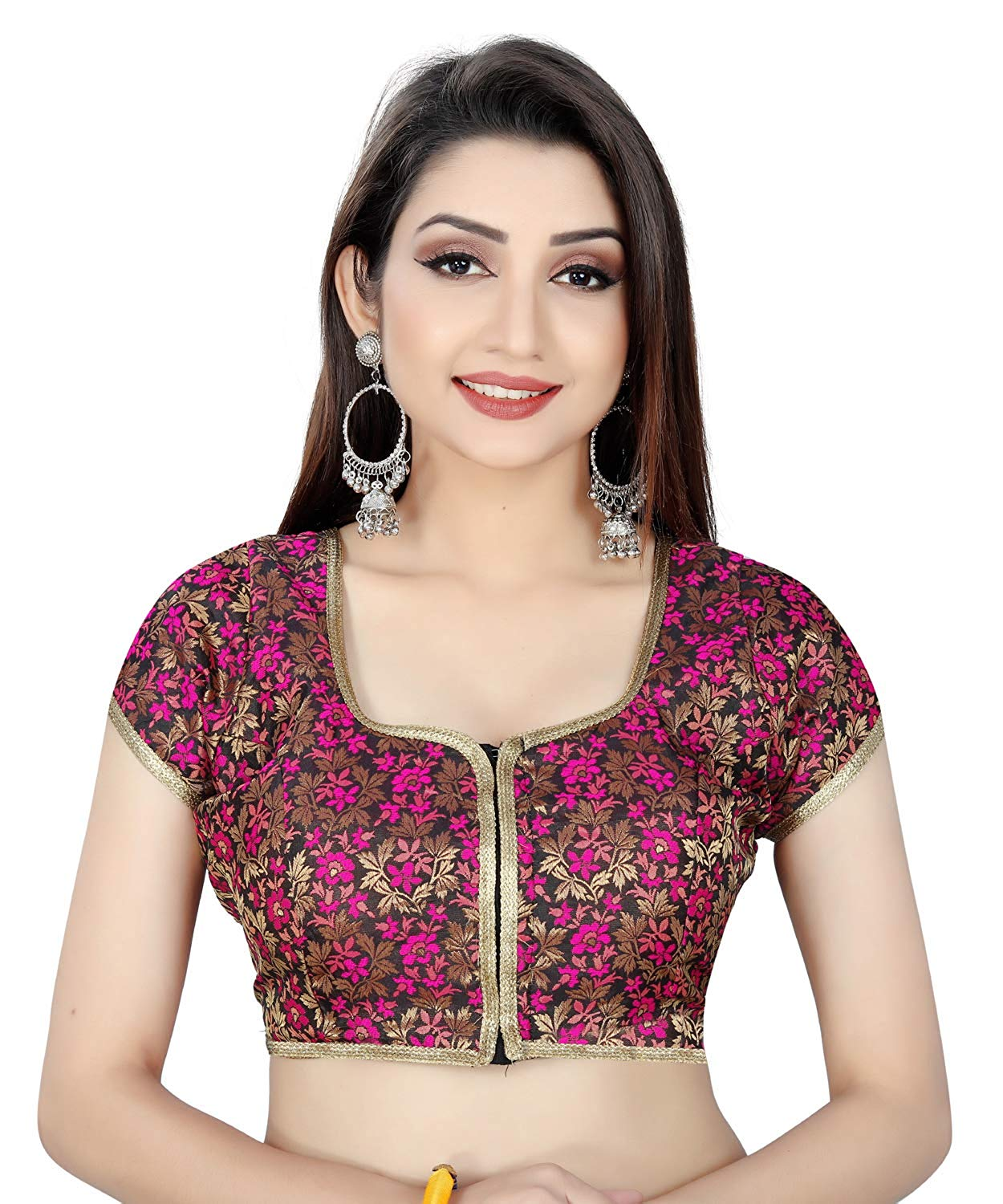 439b93364be90 Pink Flower Pattern Round Neck Women s Ready Made Saree s Blouse