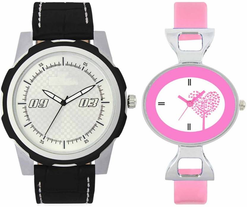 mkcollection Valentine Day Special Mens Black Silver Round Dial Black Throns Black Leather Strap Belt And Womens Designed Round Dial Pink Pu Strap Belt Couple Ana