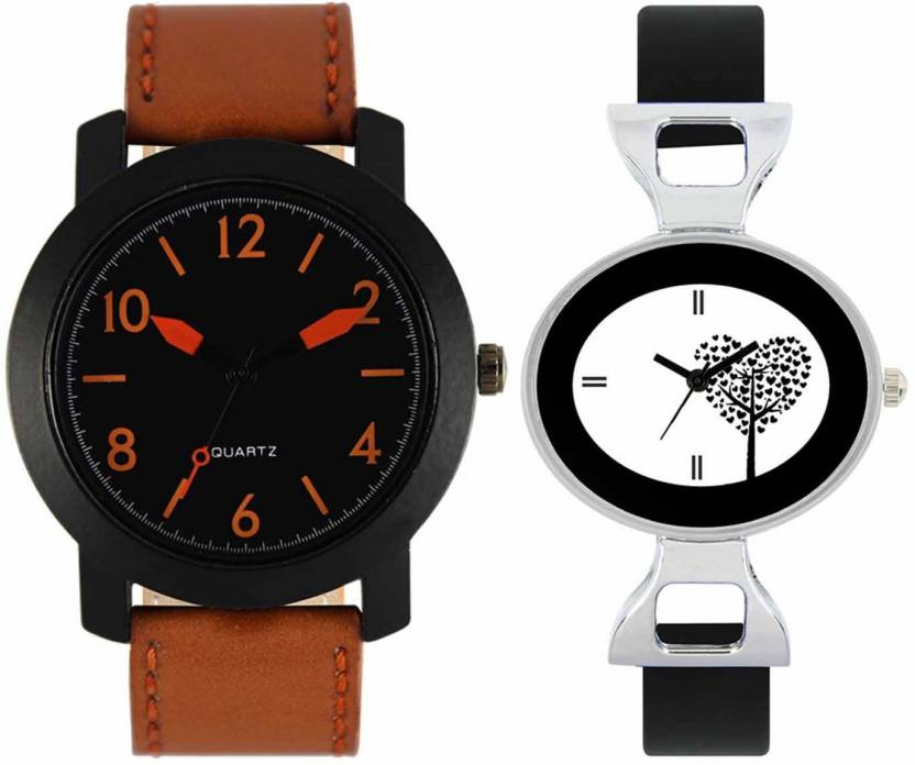mkcollection Valentine Day Special Mens Black Round Dial Orange Throns Brown Leather Strap Belt And Womens Designed Round Dial Black Pu Strap Belt Couple Analog W