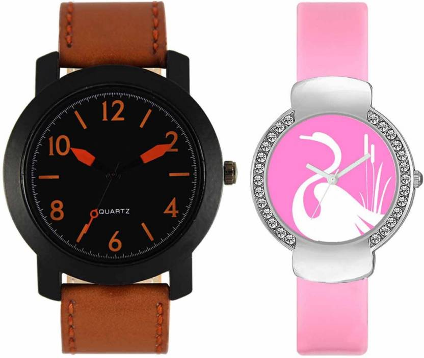 mkcollection Valentine Day Special Mens Black Round Dial Orange Throns Brown Leather Strap Belt And Womens Designed Round Dial Pink Pu Strap Belt Couple Analog Wa