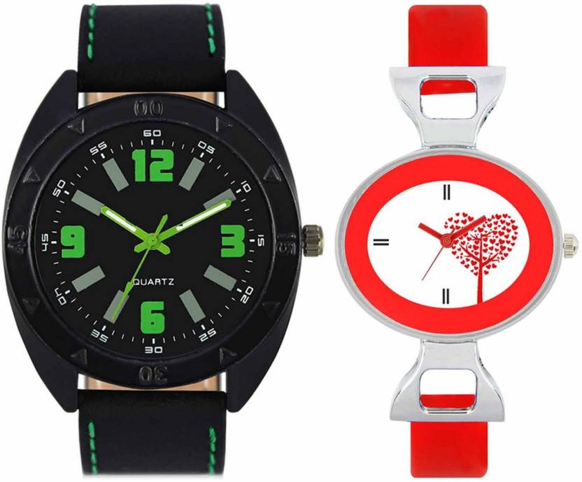 mkcollection Valentine Day Special Mens Black Round Dial Green Throns Black Leather Strap Belt And Womens Designed Round Dial Red Pu Strap Belt Couple Analog Watc