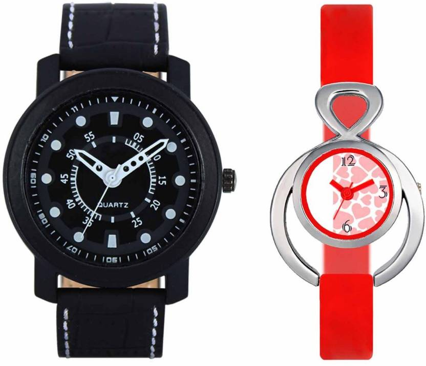 mkcollection Valentine Day Special Mens Black Round Dial White Throns Black Leather Strap Belt And Womens Designed Round Dial Red Pu Strap Belt Couple Analog Watc