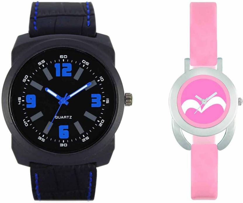 mkcollection Valentine Day Special Mens Full Black Round Dial Blue Throns Black Leather Strap Belt And Womens Designed Round Dial Pink Pu Strap Belt Couple Analog