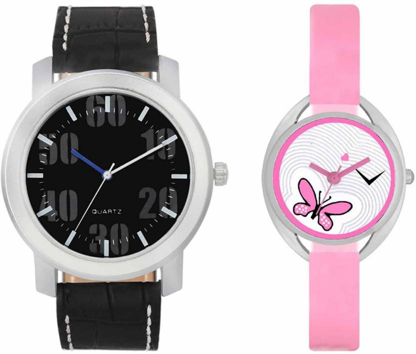 mkcollection Valentine Day Special Mens Silver Black Round Dial White Throns Black Leather Belt And Womens Designed Round Dial Pink Pu Strap Belt Couple Analog Wa
