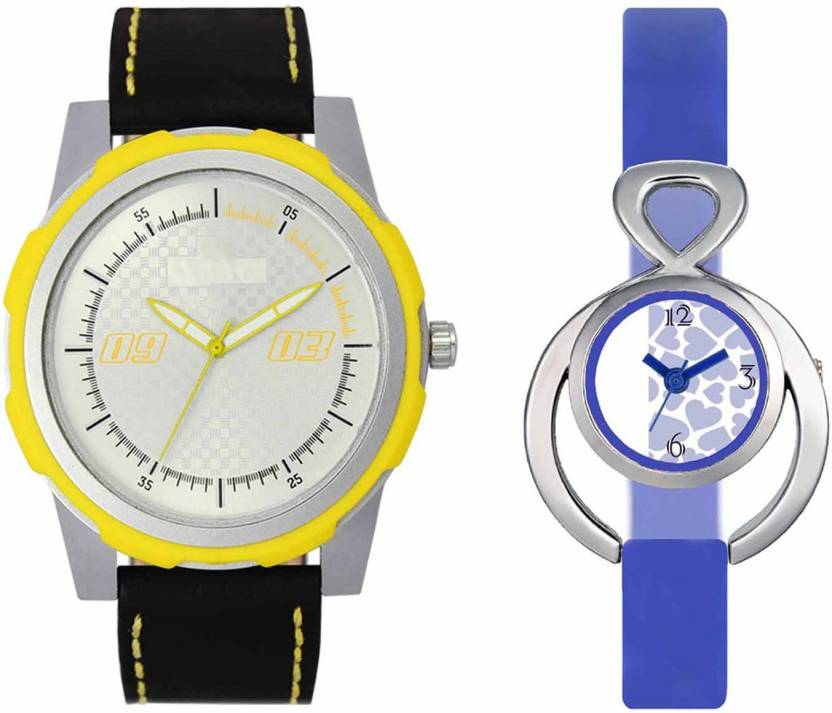 mkcollection Valentine Day Special Mens Yellow Silver Round Dial Yellow Throns Black Leather Strap Belt And Womens Designed Round Dial Blue Pu Strap Belt Couple A