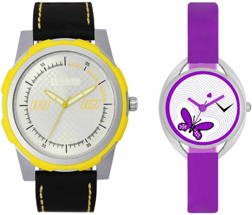mkcollection Valentine Day Special Mens Yellow Silver Round Dial Yellow Throns Black Leather Strap Belt And Womens Designed Round Dial Purple Pu Strap Belt Couple