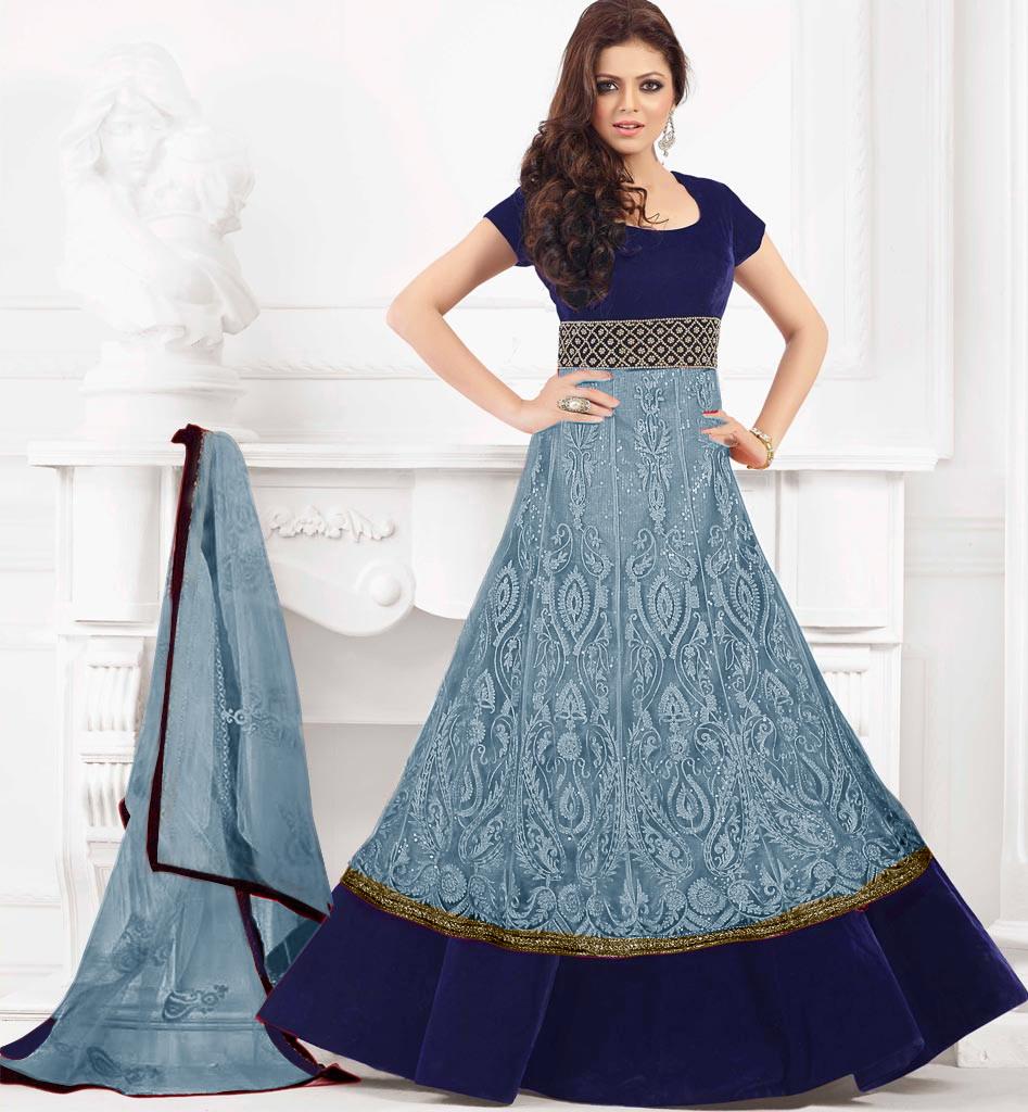 Buy Velvet Navy Blue Chain Stitch Work Anarkali Dress Dl320 at 66 ...