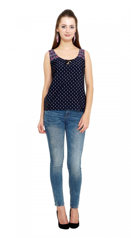 Buy New Fashion Meee Life Style Woman Kooo Poly Georgette Regular Top Kooo Navy Poly Crepe