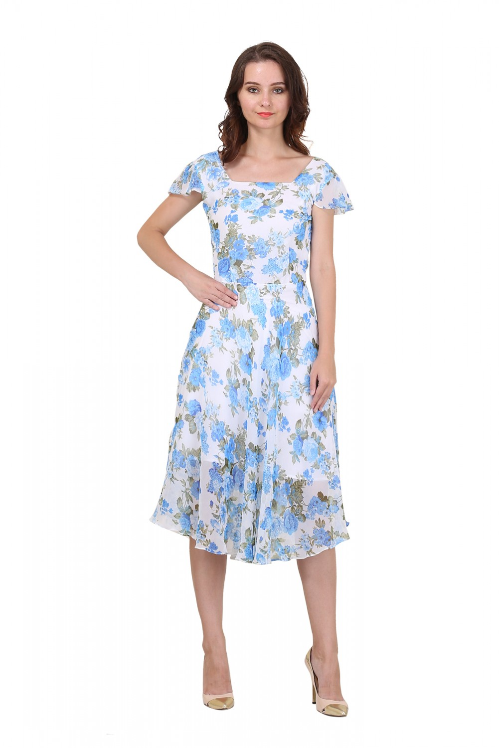 Buy New Fashion Meee Life Style Women Georgette White Blue Flower Printed Dress At 47 Off In